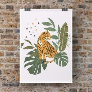 Modern boho tiger surrounded by leaves art print
